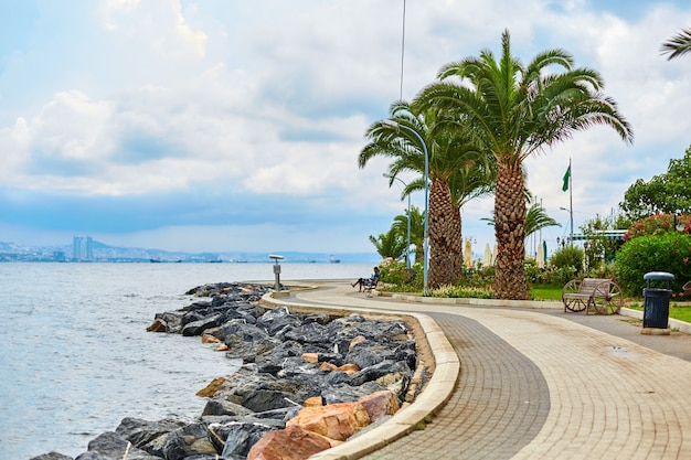 A beautiful well-groomed city embankment on the seashore