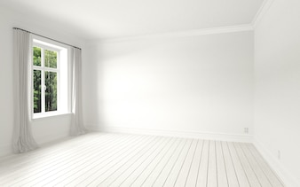 Beautiful white and bright room with sun light passing through, decorated with white clean