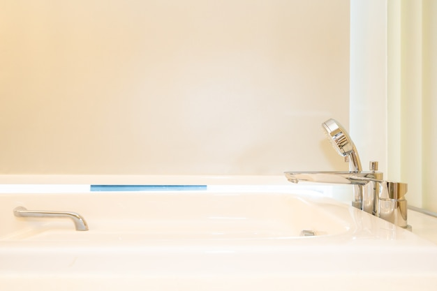 Beautiful white bathtub decoration interior of bathroom