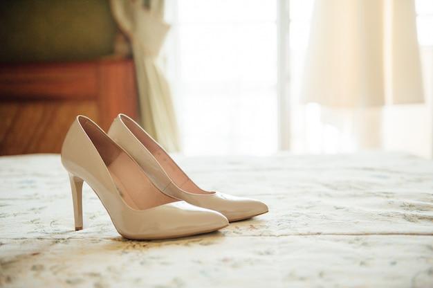 Beautiful white bride shoes