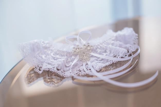 Beautiful white brides garter