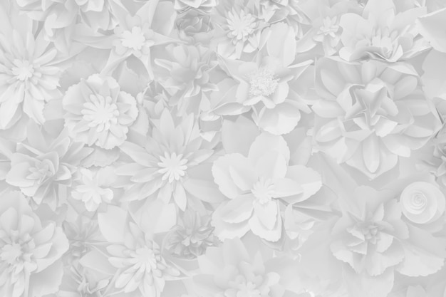 Beautiful white decoration artificial paper flowers background for backdrop.