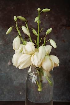 Красивые белые цветы в стеклянной бутылке с водой