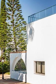 青い空を背景に南部の都市の緑の木々の美しい白い家。