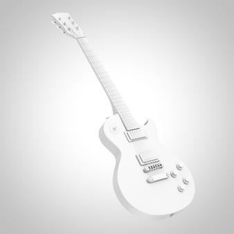 흰색 바탕에 클레이 스타일의 아름다운 흰색 복고풍 일렉트릭 기타. 3d 렌더링