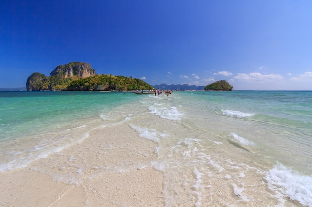 Beautiful white sand beach and clear sky at krabi thailand