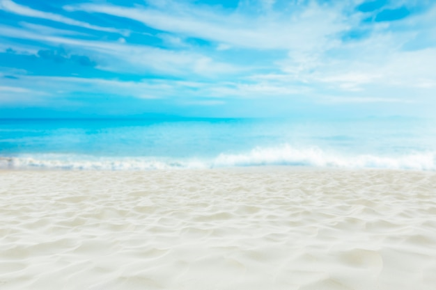 Beautiful white sand beach with blue sky , summer dream destination.
