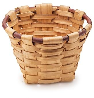 Beautiful wicker basket on white