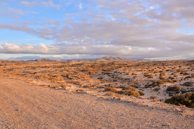 Beautiful wide shot of a desert mountain in canary islands of spain