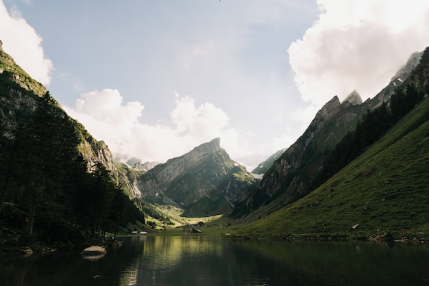 Beautiful wide shot of a lake surrounded by green mountains
