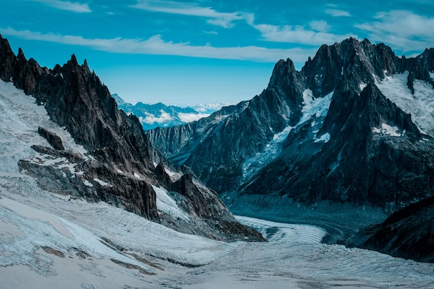 Beautiful wide shot of ruth glaciers covered in snow