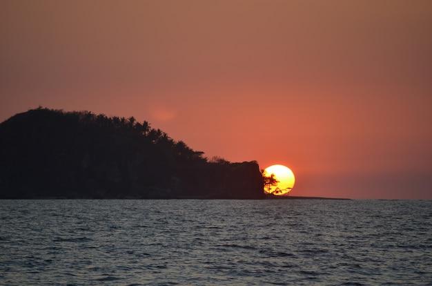 日没時に空の下で海沿いの木々で覆われた島の美しい広いシルエットショット