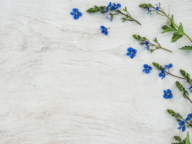 Beautiful wildflowers lying on a wooden table