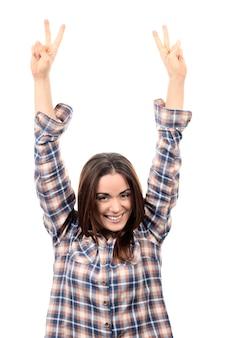 勝者であることを祝う美しい勝利の女性幸せな恍惚