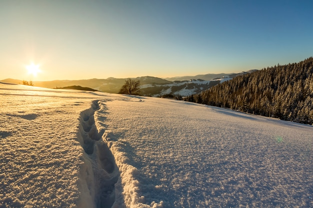 Beautiful winter christmas landscape. human footprint track path in crystal white deep snow through empty field, woody dark hills on horizon at sunrise