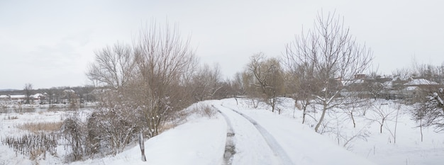 Beautiful winter countryside landscape with a lot of snow