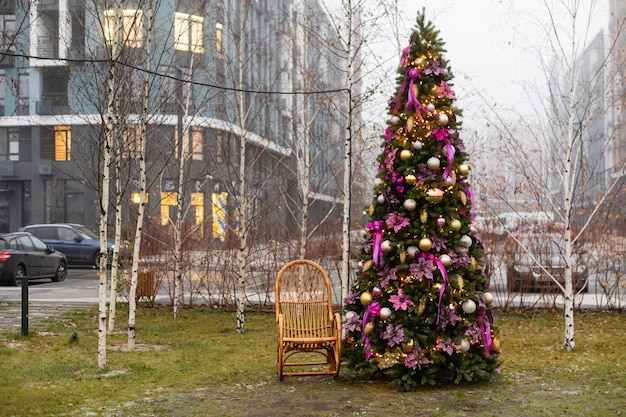 Beautiful winter decor for the christmas photo shoot on the street