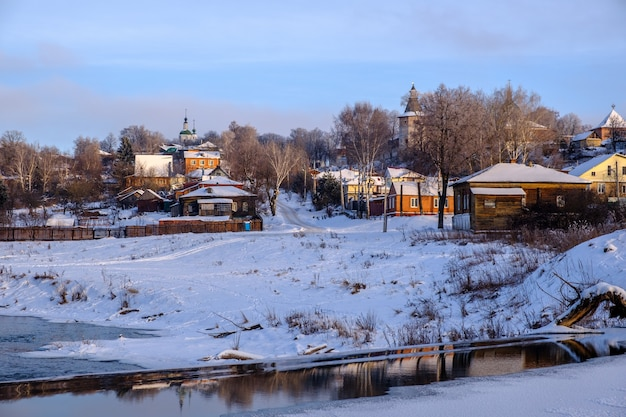 Beautiful winter evening in the ancient russian city of zaraysk, on the banks of the river osetr