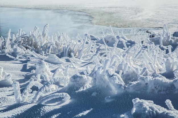 Красивый зимний пейзаж. мороз и солнце большой фон.