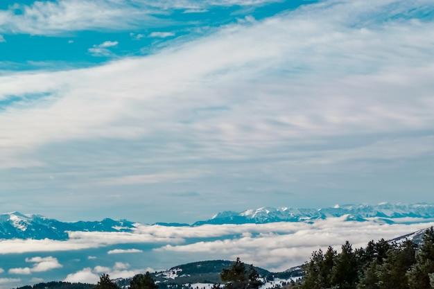 Красивый зимний пейзаж, светящийся солнечным светом утром, покрытый снегом. драматическое небо.
