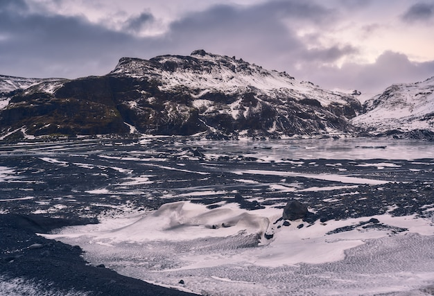 Beautiful winter landscape of the myrdalsjokull glacier during christmas on the south coast of iceland,europe