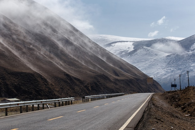 Beautiful winter road in tibet under snow mountain, sichuan, china
