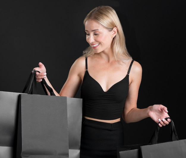 Beautiful woman black friday concept with copy space
