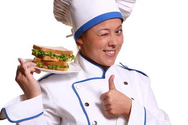 Beautiful woman in chef image