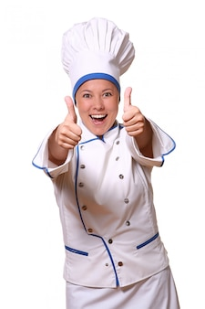Beautiful woman in chef image