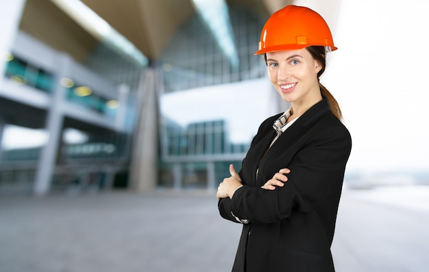 Beautiful woman civil engineer close up portrait