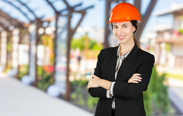 Beautiful woman civil engineer