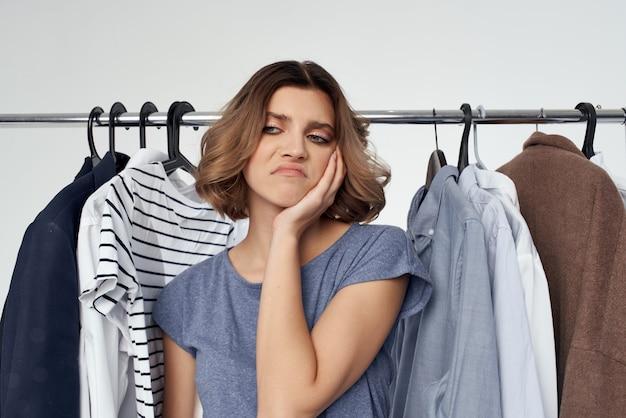 Beautiful woman clothes fitting modern style fun lifestyle