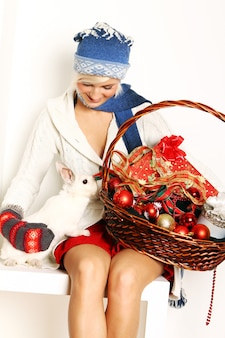 Beautiful woman and cute rabbit
