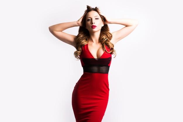 Beautiful woman in elegant red dress