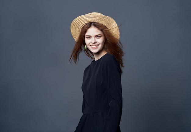 Beautiful woman elegant style luxury hat lifestyle gray. high quality photo