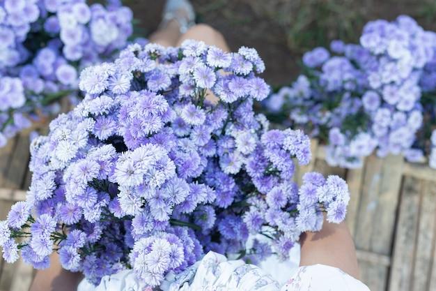 Красивая женщина, наслаждаясь полем цветов