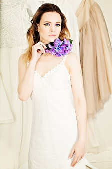 Beautiful woman on fashion background