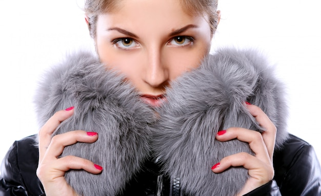Beautiful woman in fur