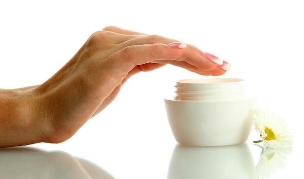 크림, 아름 다운 여자 손 흰색 절연