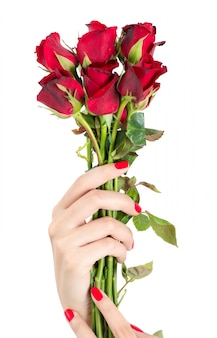 Beautiful woman hand with red nails holding red rose isolated on white background