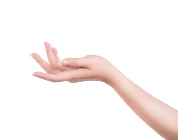 Красивая женщина руки изолированы, концепция держать виртуальную вещь или уход за ручным маникюром, крупным планом.