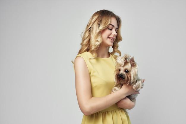 黄色のドレスを着た美しい女性は、小さな犬の孤立した背景を楽しんでいます