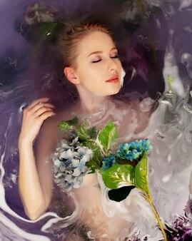 꽃과 보라색 물이 있는 욕조에 있는 아름다운 여자