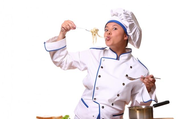 요리사 이미지에서 아름 다운 여자