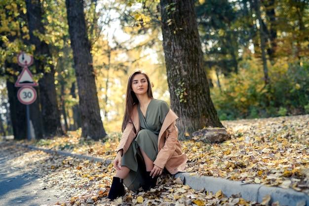 길가에 숲에서 포즈 코트에서 아름 다운 여자