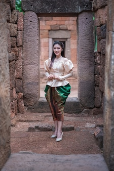 Beautiful woman in Thai traditional dress