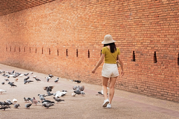 Beautiful woman is playing with birds in the park. at tha phae gate chiang mai old city ancient wall and moat in chiang mai northern thailand.