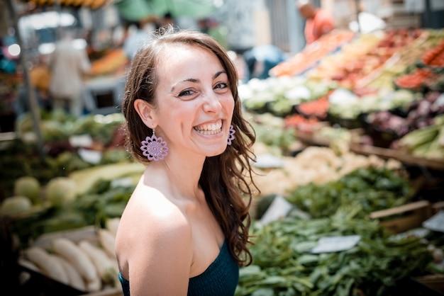 Beautiful woman at the market