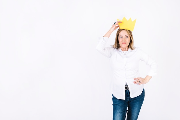 Beautiful woman in paper crown