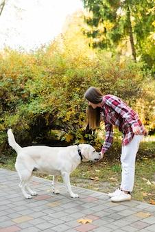 Красивая женщина играет со своей собакой